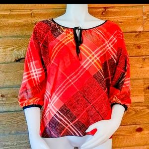 Candies Plaid Red and Black Quarter Sleeve Blouse